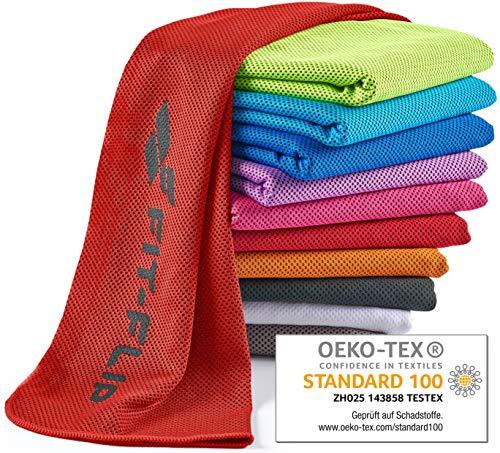 Fit-Flip Kühlendes Handtuch 120x35cm, Mikrofaser Sporthandtuch kühlend, Kühltuch, Cooling Towel, Mikrofaser Handtuch| Farbe: rot, Größe: 120x35cm