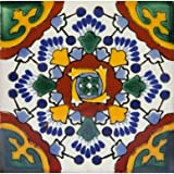 Ricarda - 30 Mexikanische fliesen 10x10 cm, Talavera Bad und Küche Kacheln | Deko für Badezimmer, Dusche, Treppen, Küchenrückwand | Zementfliesen, Marokkanische Motiven