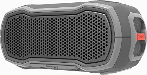 BRAVEN Ready Solo Series wasserdichter Bluetooth Lautsprecher - grau/orange (IP68 Zertifizierung, Akku zum Laden von Smartphones, 2.200mAh, 12 Stunden Musikwiedergabe, Action Mount) - BRDYSOLOGGO Aluminium-subwoofer Grill