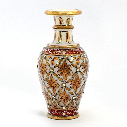 JaipurCrafts Jaipuri Gold Painting Meenakari Marble Flower Vase (372, White)