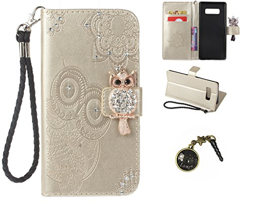 Preisvergleich Produktbild Galaxy Note 8 Wallet Case für Samsung Galaxy Note 8 Flip Hülle Laoke Eule Blumen Muster Handyhülle Schutzhülle PU Leder Case Skin Brieftasche Ledertasche Tasche im Bookstyle in +Staubstecker (5)