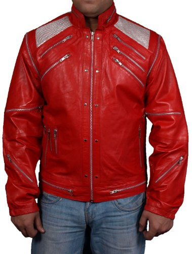 Jackson Michael Outfits (Mens faux leather jacket=MICHAEL JACKSON BEAT IT ORIGINAL= Available sizes, XS-5xl, Available Colors red, brown, white, green, black, blue.)