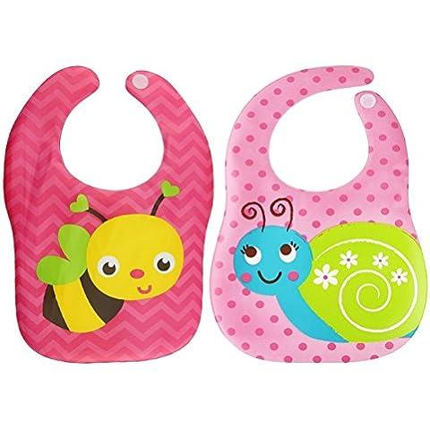 Happy cherry -(set de 2)Baberos Impermeables para Bebés Recién Nacidos Niñas Niños Babero de EVA Plástico Suave Enrollable de Dibujo Animal-Avión + Oso Dinosaurio+Coche Insectos+ Coche Abeja+