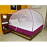 OnlineTree Polyester Foldable Double Bed Mosquito Net (Purple, 6x6)