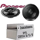 Opel Corsa B/C/D - Lautsprecher Boxen Pioneer TS-G1730F - 16cm 3-Wege Koax Paar PKW 300WATT Koaxiallautsprecher Auto Einbausatz - Einbauset