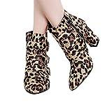 VJGOAL Damen Stiefel, Damen Geschenke Chic Fashion Nachahmung Snakeskin Leopard Muster Partei Gürtelschnalle Strap Boots Zip Dick Spitz Keil Schuhe (Braun,37 EU)