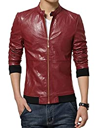 Sourcingmap Men Stand Collar Zip Up Front Slim Fit Two Slant Pockets PU Jacket