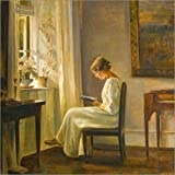 Posterlounge Forex-Platte 120 x 120 cm: Lesende Frau von Carl Holsoe