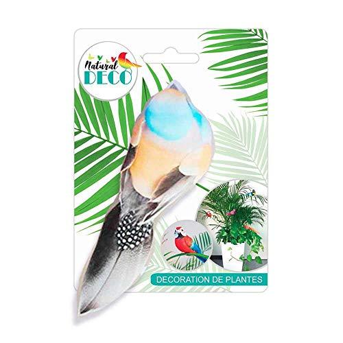Déco Plantes - Petit Oiseau Orange et Bleu CD3833