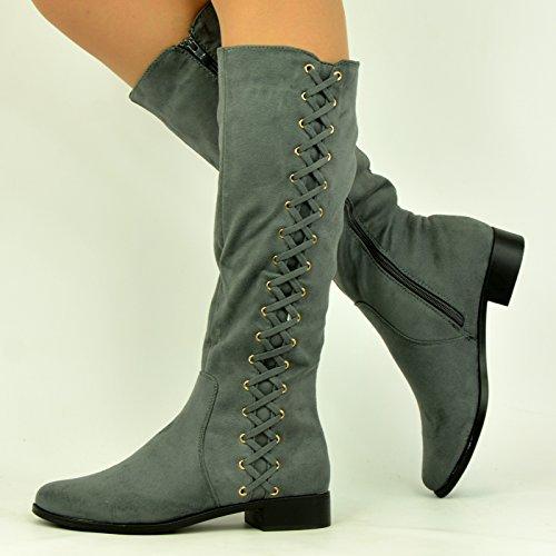 Cucu Fashion ,  Damen Durchgängies Plateau Sandalen mit Keilabsatz Grau