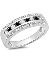 0.50 Carat (ctw) 14 ct White Gold Round Black & White Diamond Anniversary Wedding Band 1/2 CT