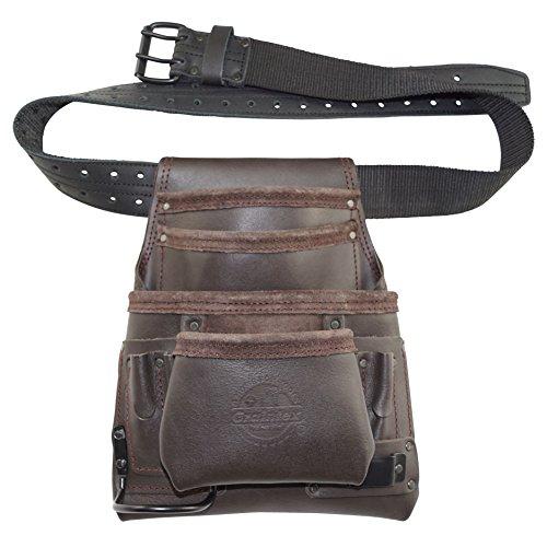 graintex os222110Pocket Öl gegerbtes Leder Nail & Tool Pouch mit 5,1cm Leder/Gurtband Gürtel doppelt Nadel Rollschnalle - Nail Pouch