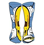 CVDGSAD Outdoor Sports Men Women High Socks Stocking Human Skull Icon Pop Art Comic Style Character Tile Length 19.7'(50cm)