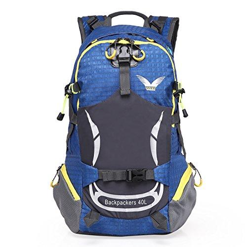sfeibo 40L zaino in nylon impermeabile outdoor sport ciclismo campeggio arrampicata zaino stampa borsa da viaggio escursionismo Confezione, Green Blue