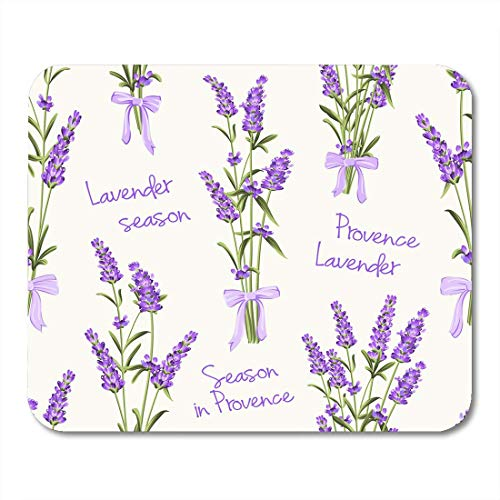 (Deglogse Gaming-Mauspad-Matte, Purple Wedding Blue Rose of Lavender Flowers on White Watercolor Pattern with Swatch Green Vintage Mouse Pad,Desktop Computers Mouse Mats,)