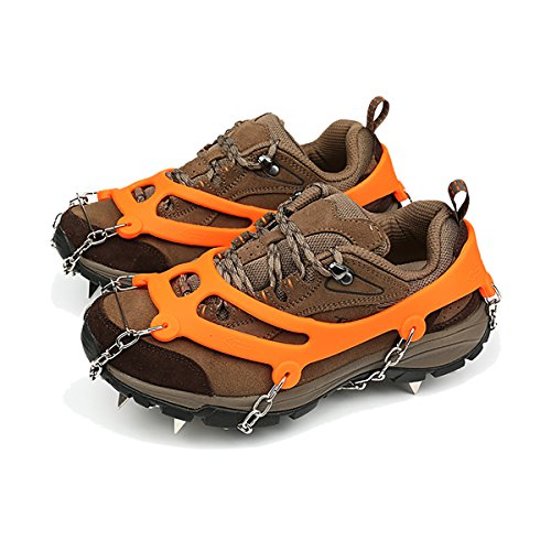Ice Grippers–ligero 18dientes acero inoxidable Spikes Crampones Antideslizante seguro para caminar sobre hielo y nieve–Walk tacos de tracción, 1Set