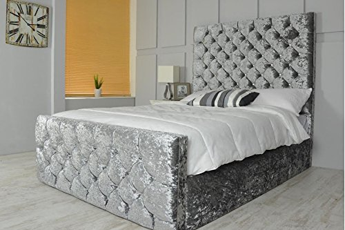 "LUXURY CHESTERFIELD STYLE BED IN CRUSHED VELVET IN DIAMANTE WITH 54"" HEADBOARD (5FT KING SIZE, SILVER) by Desire Beds"