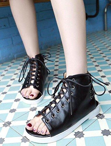 GLTER Frauen Open Toe Sandalen Sommer neue Trend Lace-Up hohlen unteren römischen Schuhe Black