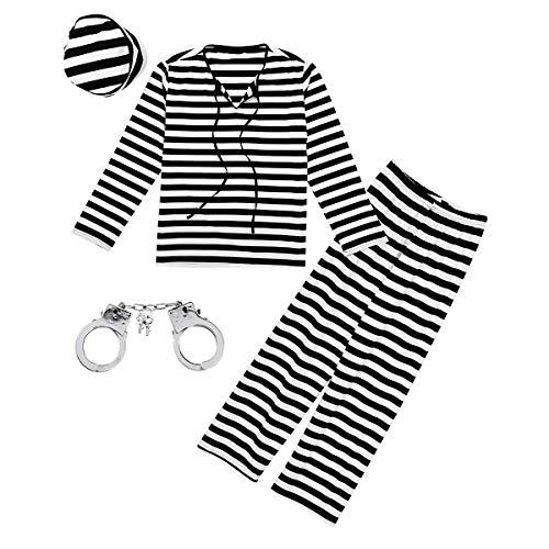 Kostüm Für Sträfling Erwachsene - iixpin Herren Sträfling Kostüm, Hemd, Hose und Mütze Erwachsene Halloween Zubehör Cosplay Uniform Streifen Outfit Schwarz&Weiß X-Large