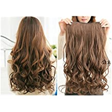 "2013 Hot Fashion 22"" Curly Clip in Hair Extensions Hairpiece 1 Pcs Light Brown"