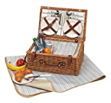 Picknickkorb für 4 Personen mit Kühlfach und Picknickdecke 46 x 30 x 21 cm Campingkorb