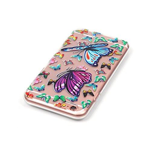Gel Handyhülle Cover für iPhone 6/6S,CLTPY [Kratzfeste] [Stoßfest] Transparent Klar Malerei Muster Design TPU Bumper Etui Case für iPhone 6/6S,Ultra Dünn Super Leicht [Perfekt Passen] Soft Silikon Sch Bunte Schmetterlinge