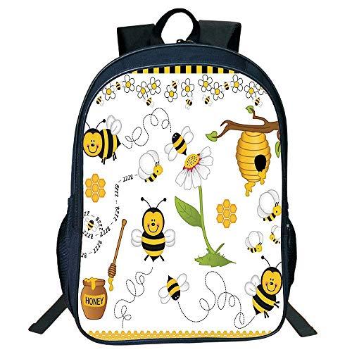 HOJJP Schultasche Stylish Unisex School Students Black Collage Decor,Flying Bees Daisy Honey Chamomile Flowers Pollen Spring Animal Print,Yellow White Black Kids,