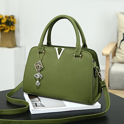 damen-mode V-Förmige handtasche Große tasche Schulter messenger bag Grün