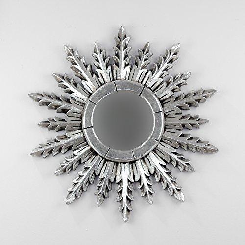 Rococo Espejo Decorativo Tipo Sol de Madera Urban Surya de 50x50 en Plata (Envejecida)