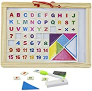 Wooden Frame Double Sided Magnetic Whiteboard and Black Slate with Alphanumeric Tangram Puzzle For Kids Size L