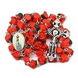 Rosario widado a la Virgen de Fatima rosa roja Rosario de Flores católico rot Rosenkranz für Damen, zur Kommunion