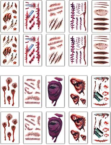 Tuopuda 20 hojas Halloween Zombie Cicatrices Tatuajes Pegatinas con Falso Scab Sangre Especial Fx Costume Maquillaje Props Tatuajes Temporales (10 patrones diferentes*2)