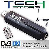 Tech Stor3 Chiavetta ricevitore registratore TV digitale terrestre USB DVB-T stick USB DVB-T TV tuner USB DVB-T TV Tuner stick MPEG4 H264 Compatibile Windows 7 8 10 immagine