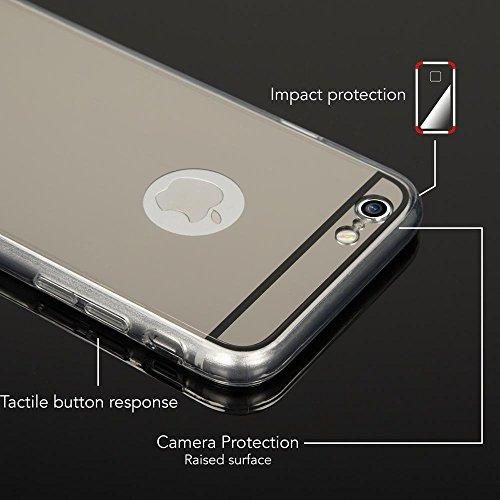 iPhone 6 6S Spiegel Hülle Handyhülle von NICA, Ultra-Slim Mirror Case Cover TPU Silikon-Hülle, Dünne Schutzhülle Backcover verspiegelt, Handy-Tasche Bumper Etui für Apple i-Phone 6S 6, Farbe:Silber Grau