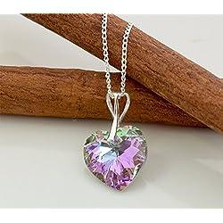 Crystals Stones Top Coraz n Juego de joyas Vitral Light Plata 925 Sch n Mujer Joyas Set con cristales de swarovski