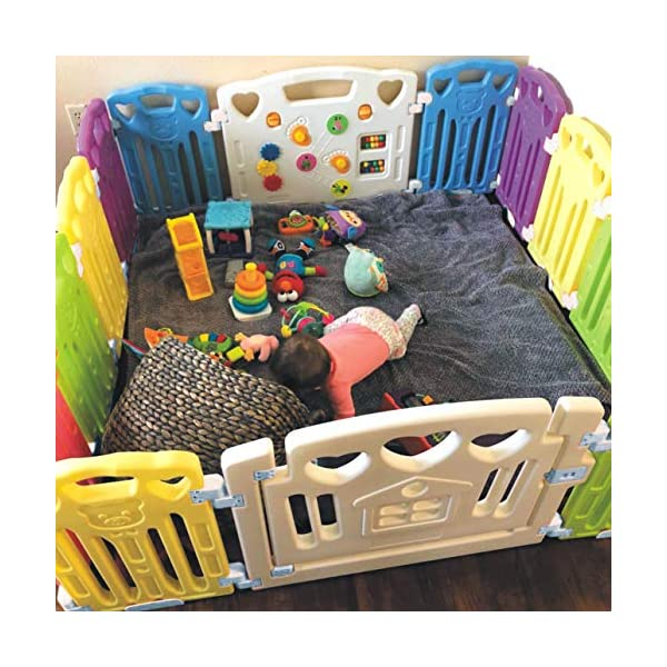 Baby Playpen Kids Activity Centre Safety Play Yard Home Indoor Outdoor New Pen (Multicolour, Classic Set 14 Panel) (Multicolour 14 Panel) Gupamiga MOM'S LIFESAVER: Keep baby safe in there play centre when mom/dad needs to cook, clean up, go to the bathroom, etc. STURDY HOLDING: Specially designed rubber feet underneath of the yard so the parts don't go sliding around. COVERS A LARGE AREA: It is a great amount of space for baby to learn walk and even laying with baby in it for play time. 2