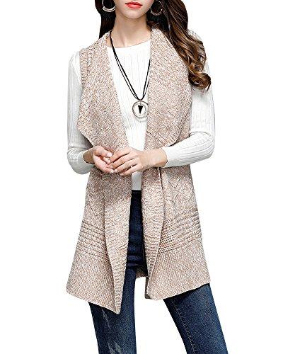 Femmes Long Casual Cardigan à Tricot Manteau De Veste De Outwear Gilet Sans Manche Beige