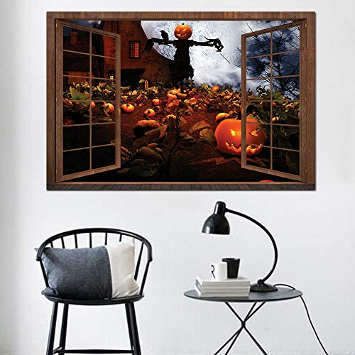 Wandaufkleber 3D Gefälschte Fenster Wandaufkleber Halloween Kürbis Vogelscheuche Aufkleber Wohnzimmer Schlafzimmer Dekoration Selbstklebende Tapete