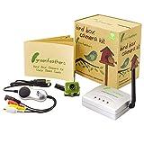 Videocamera da Giardino - Camera Wireless con Visione Notturna per Cassetta Nido per Uccelli, Ricevitore e Connettori USB -Registra sul tuo PC, Rilevazione di Movimento, 2,4 GHz