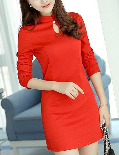 PU&PU Robe Aux femmes Trapèze Vintage,Couleur Pleine Mao Au dessus du genou Polyester / Spandex RED-L