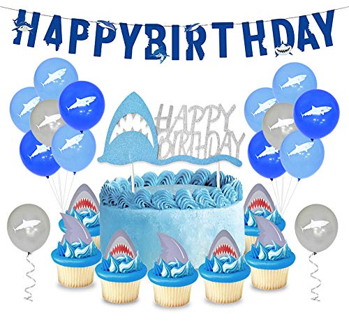 KREATWOW Shark Party Dekorationen gehören Shark Latex Balloons, Kuchen Toppers, Alles Gute zum Geburtstag Banner, Ballon Seil für Kinder Geburtstag liefert Baby Dusche