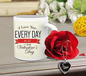 TiedRibbons® Gifts For Girlfriend (Printed Coffee Mug, Artificial Rose, Locket with Chain)