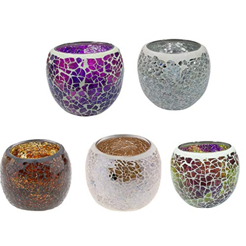 PETSOLA Romantische Patch Glas Votive Teelicht Duftkerze Schatten Schüssel Tisch Esszimmer Dekor Dekoration 5 Stücke - D - Glas Schüssel-schatten