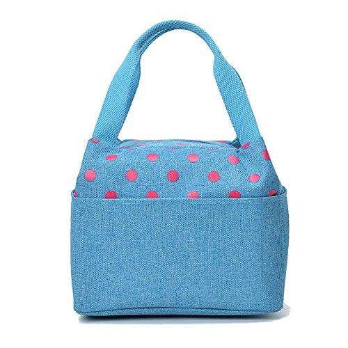 TININNA Donne Carino a pois impermeabile Addensare Oxford stoffa pranzo al sacco pranzo organizer Tote Bag pranzo Sacchetti Profondo blu chiaro Blu