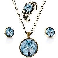 luremeŽ Time Gem Series Vintage Wolf Pendant Necklace Stud Earrings Hollow Flower Bangle Jewellery Sets (09000632)