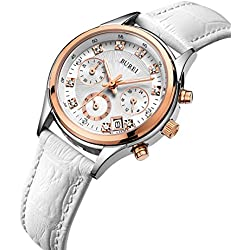 BUREI Women White Chronograph Watches with Arabic Numerals and Rose Gold Watch Case