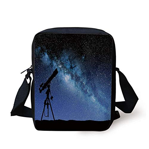 KLYDH Galaxy,Telescope Valley Under Starry Night Sky Milky Way Atmosphere Galaxy Astronomy,Dark Blue Black Print Kids Crossbody Messenger Bag Purse (Galaxy Messenger Bag Print)