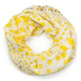 MANUMAR Loop-Schal für Damen | Hals-Tuch in gelb mit Punkte Motiv als perfektes Herbst Winter Accessoire | Schlauchschal | Damen-Schal | Rundschal | Geschenkidee für Frauen und Mädchen