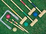 4 PLAYER COMPLETE WOODEN OUTDOOR GARDEN CROQUET SET MALLET BALLS TOY FUN