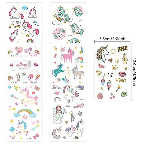 DYFFLE Einhorn Kinder Tattoos, Tattoo Set Kinder Temporäre Tattoos Aufkleber Geschenke für Mädchen Kindergeburtstag Party Wasserdicht Sticker Über 300 Tattoos